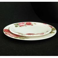 China customized size wedding plastic rose plate floral melamine plates 11inch