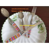 24pcs PS handle with color-paper insert stainless steel flatware