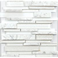 Foshan interior decoration white stone and glass mosaic tile