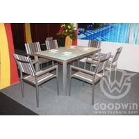 GW3405 2016 new design outdoor furniture brushed aluminum dining set