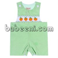Pumpkin smocked shortall for baby boys - BC 467