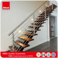 High quality metal wooden staircase with cable railings