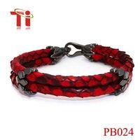 Latest Charm Leather Bracelet Python Skin With 316L Stinless Steel Python Bracelet
