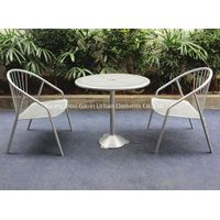 Metal outdoor cafe table and chair