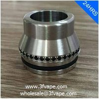 WIDE BORE DRIP TIP FOR ATOMIZER- SILVER + BLACK, STAINLESS STEEL + ZIRCON,15MM, 22MM DIAMETER