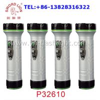 Cheap portable plastic led flashlight torch powered by 2xD dry battery
