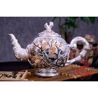 Pure Silver Tea pot with Enamel Craft