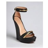2014 New Fashion Big Size Streamline Woman High Heel Black Wedge Sandals Dress Shoes