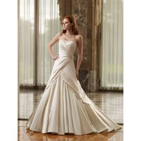 A-line Strapless Sleeveless Court Train Satin Wedding Bride Dress with Ruffles and Beading
