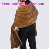 Dark Brown Knitted Mink Fur Shawl thumbnail image