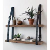 leather belt strap for wooden shelf