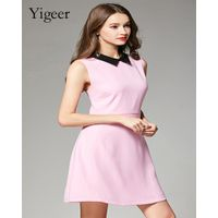 Sleeveless Pure Color Elegant A-line Ladies' Dress