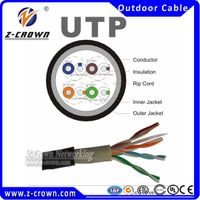 CCA UTP cat5e network cable outdoor burial Ethernet Cable UTP 24awg 4P 0.50mm copper clad aluminum 3