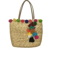 Colorful Pom Pom Tassel Straw Beach Bags