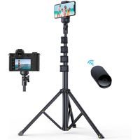 62'' All-in-One Tripod for iPhone with Bluetooth Remote Extendable Phone Tripod Stand Flexible Hold