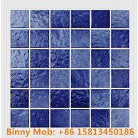 48x48 Standard antiskid glazed wave like blue white ceramic swimming pool mosaic tiles