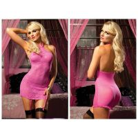 Pink Martini Lace High Halter Neck Intimate Chemise Garter