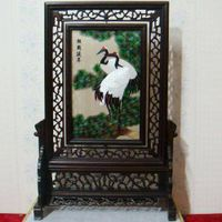 Handmade two-sided silk embroidery screen home decor