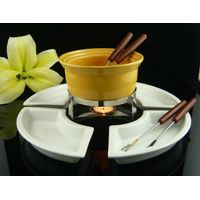 Ceramic Chocolate Fondue with iron stand