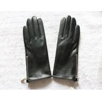 Women leather gloves short with zippers