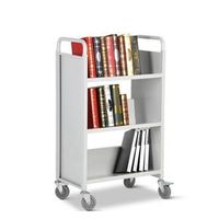 Three layers single-sided sloped shelf book cart RCA-3S-LIB06