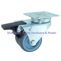 "2"" Polyurethane Wheel Dual Wheel Casters Plate Mount Total Locking"