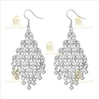 Fan Shaped Hollow Alloy Inlaid Diamond Earrings for Women thumbnail image