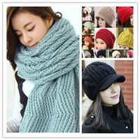 2015pretty hand knitted hat and scarf winter hat thumbnail image