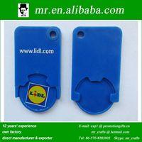 custom design euro ABS plastic trolley jeton token coin holder keychain