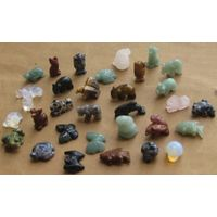 carved mixed gemstone animal beads