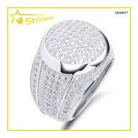 hip hop rhodium plated lab created diamond men ring