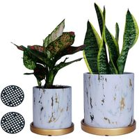 Los Angeles Planter Pots Set, Marble Ceramic Flower Pots Indoor with Drain Hole(pack of 2)