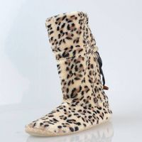 fashion long boots  pv fur  material leopard picture