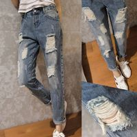 Women High Waist Ripped Boyfriend Jeans Denim Loose Capris Slim Beggar Pants