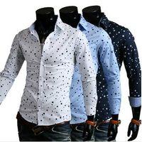 fashion men shirt men's handsome long-sleeve shirt mens slim casual shir