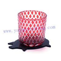 piggy slate coaster with elegant cut horn glass tumbler thumbnail image