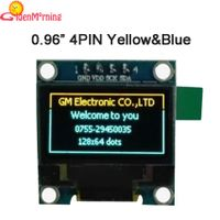"0.96"" OLED display, 4P interface IIC i2c, 128*64 pixels, with yellow & blue colors"