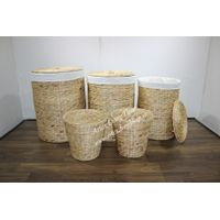Round water hyacinth trunks for laundry baskets, new design-SD2612A-5NA