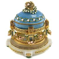 14K Gold Faberge Flower Egg Jewelry Box