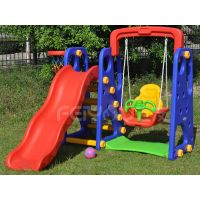 Small playground plastic slide with swing set for kids FY826401 thumbnail image
