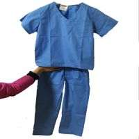 Kids medical scrub suit, medical gown,cheap hospital uniform customized pink/blue scrubs for kids