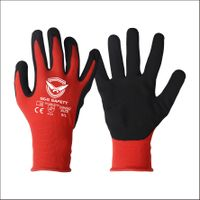 13 Gauge Red Nylon Liner with Black Sandy Nitrile Palm Coated thumbnail image