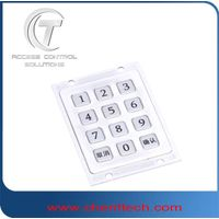 IP65 waterproof 3*4 metal numeric keypad with flat keys