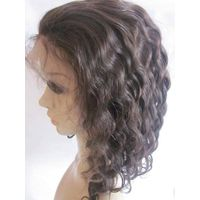 "12"" deep wave dark brown Full lace wigs 100% Indian remy human hair"