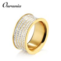 Hot Selling Full Zirconia Yellow Gold Silver Anniversary Jewerly Wedding Rings for Women