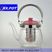 Promotional design glass teapot with infuser from China