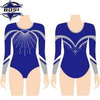 Bosi gymnastics cheerleader uniforms Long Sleeves ballet leotards with rhinestones thumbnail image