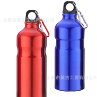 Aluminum outdoor Sports Water Bottle with carabiner lid