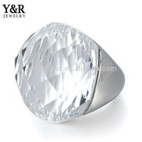 316L Stainless Steel Custom Engraved Design Gemstone Ring