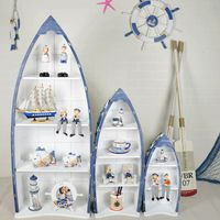 Mediterranean style boat shaped storage shelf GS009